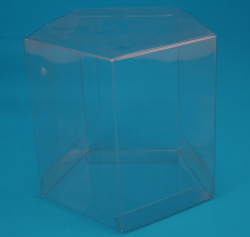 hexagon shaped clear plastic retail box
