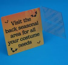 get creative with shelf flags, talkers and plastic edge markers